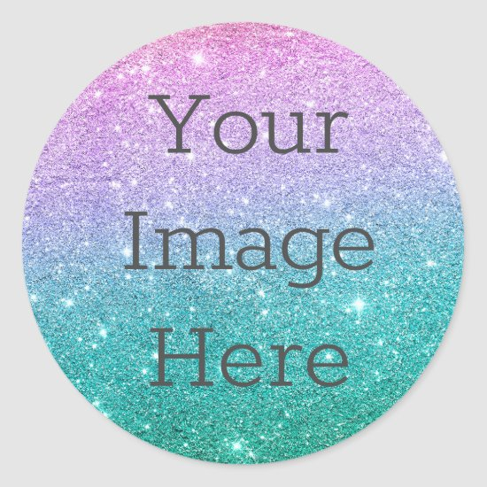 Create Your Own Bright Mermaid Ombre Glitter Dust Classic Round Sticker