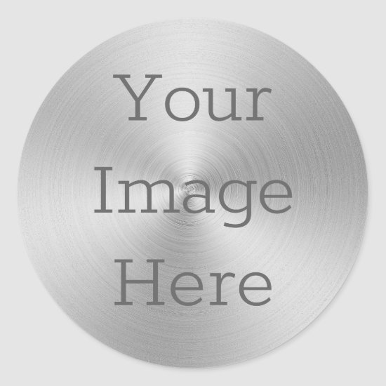 Create Your Own Brushed Metallic Silver Radial Classic Round Sticker
