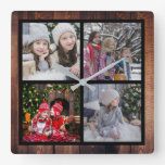 Create your own Christmas family photo collage Square Wall Clock