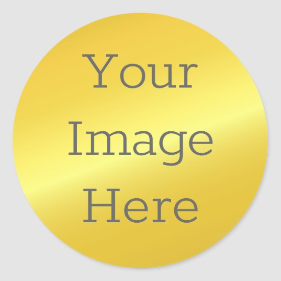 Create Your Own Metallic Sunshine Gold Faux Foil Classic Round Sticker