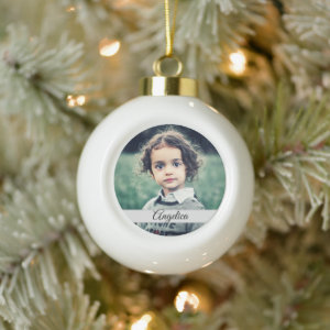 Create Your Own Photo Name Ceramic Ball Christmas Ornament