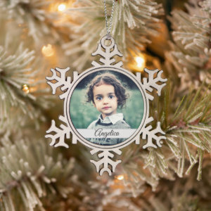 Create Your Own Photo Name Snowflake Pewter Christmas Ornament