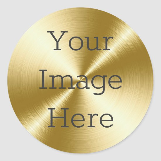 Create Your Own Radial Brushed 14K Gold Metallic Classic Round Sticker