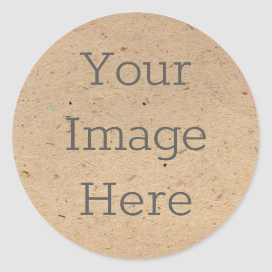 Create Your Own Recycled Brown Kraft Paper Print Classic Round Sticker