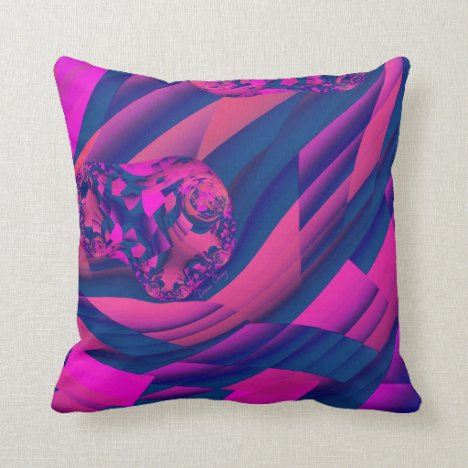 Creating Worlds – Abstract Fractal Magenta Pillow