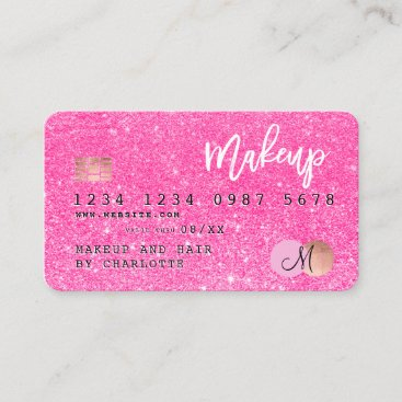 Credit card neon pink glitter makeup hair monogram