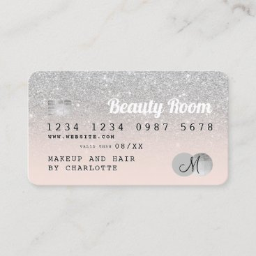 Credit card silver glitter beauty pink monogram