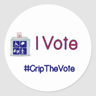 #CripTheVote I VOTE stickers (round) large