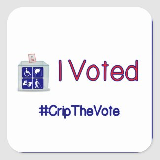 #CripTheVote I VOTED stickers (square) large