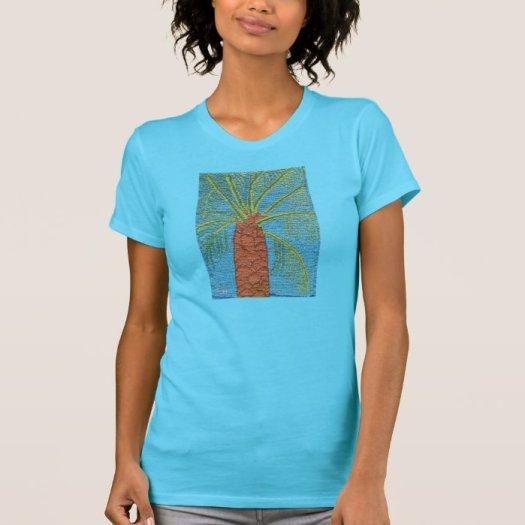 Cross Stitched Palm Tree By Julia Hanna T-shirt