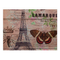 crown french bee butterfly Paris Eiffel Tower Postcard