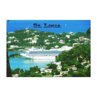Cruise ship docked at St.Lucia Canvas Print
