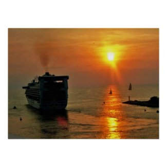 Cruise ship leaving Puerto Vallarta Poster