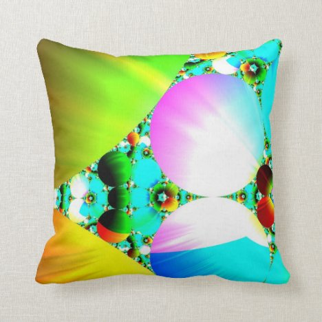 Crystal Sunrise - Abstract Fractal Rainbow Throw Pillow