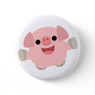 Cuddly Cartoon Pig Button Badge button