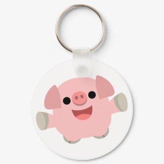 Cuddly Cartoon Pig keychain keychain