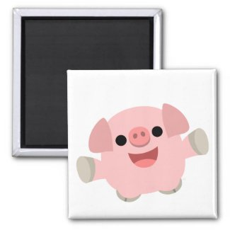 Cuddly Cartoon Pig magnet magnet