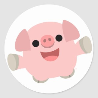 Cuddly Cartoon Pig Sticker sticker