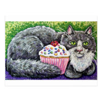 cupcake grey cat postcard