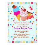 Cupcake icecream candy birthday party invitation