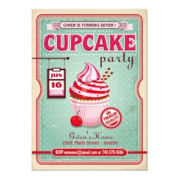 Cupcake Party Birthday Invitation