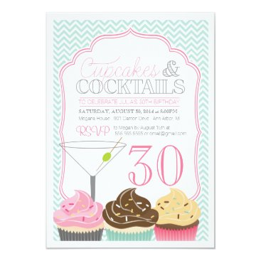 Cupcakes & Cocktails Adult Birthday Invitation