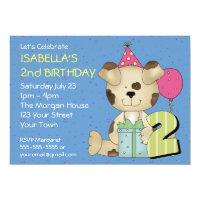 Custom 2nd Birthday Puppy Dog Card