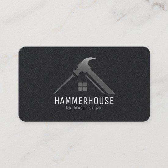 Custom Black + Silver Home Building Construction Business Card