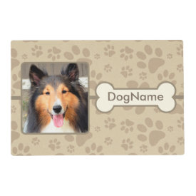 Custom Brown Paw Prints Dog Mat Laminated Placemat
