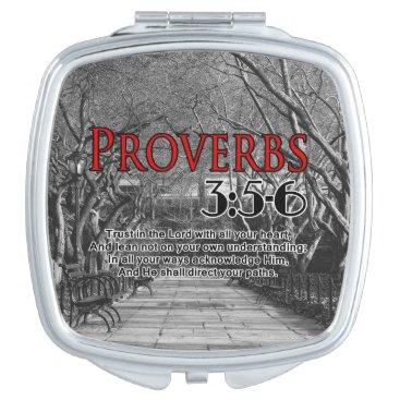 CUSTOM CHRISTIAN BIBLE VERSE PROVERBS 3:5-6 COMPACT MIRROR