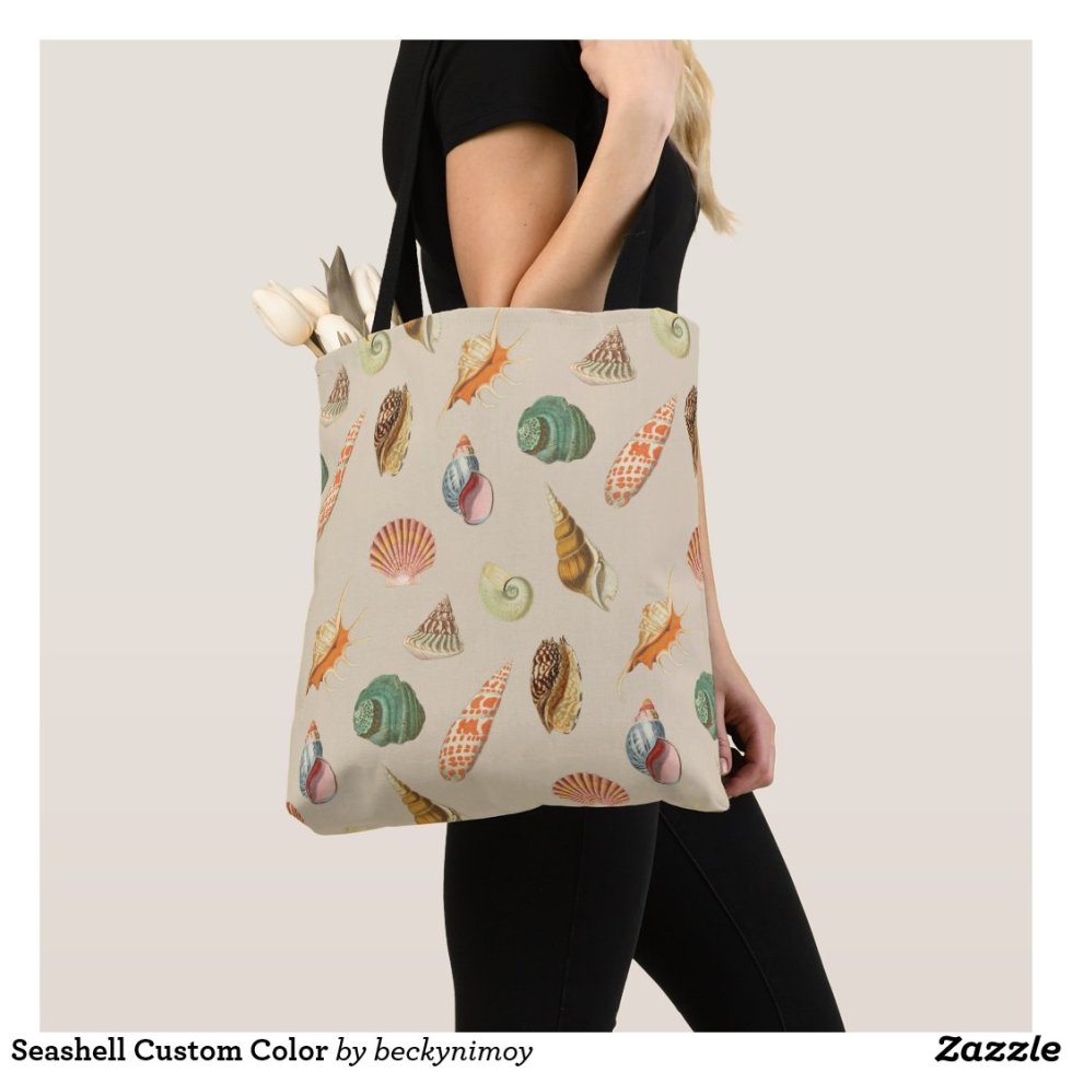 Custom Color Vintage Colorful Seashell Beige Tote Bag