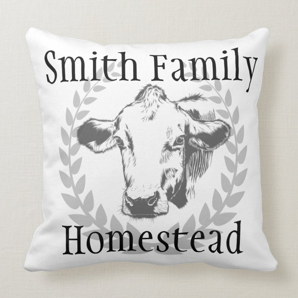 Custom Cow Family Homestead Rustic Throw Pillow