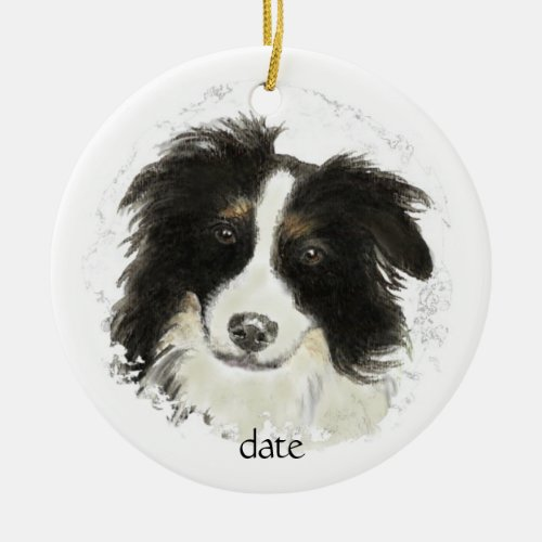 Custom Dated Border Collie, Dog Pet, Animal Ceramic Ornament