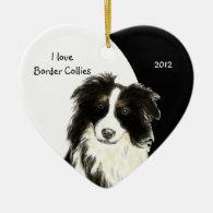 Custom Dated I love Border Collies dog, pet animal Christmas Ornaments