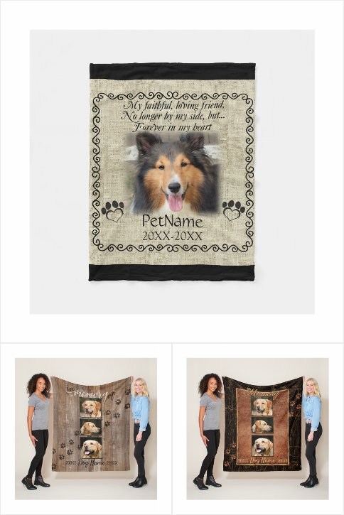 Custom Dog Memorial Keepsake Fleece Blankets