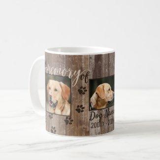 Custom Dog Memorial Rustic Wood Look Coffee Mug
