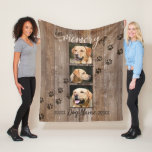 Custom Dog Memorial Rustic Wood Look Fleece Blanket