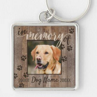 Custom Dog Memorial Rustic Wood Look Keychain