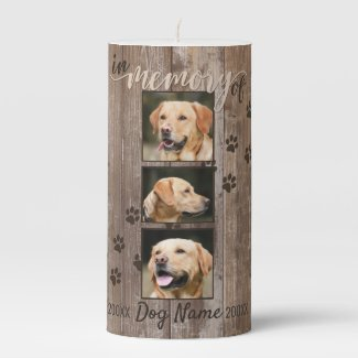 Custom Dog Memorial Rustic Wood Look Pillar Candle