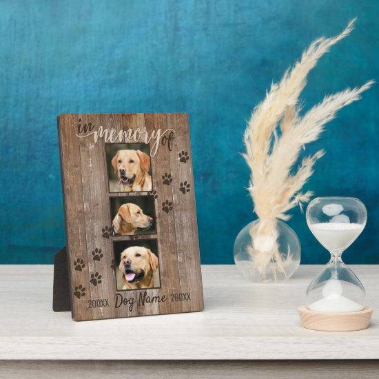 Custom Dog Memorial Rustic Wood Look Plaque