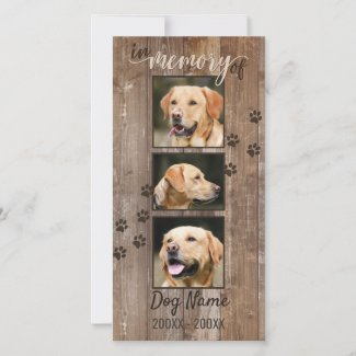 Custom Dog Memorial Rustic Wood Look Sympathy