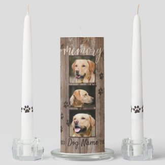 Custom Dog Memorial Rustic Wood Look Unity Candle Set