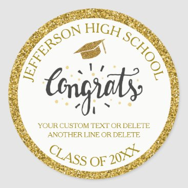 Custom Graduation Congrats Grad Gold Class of 2018 Classic Round Sticker