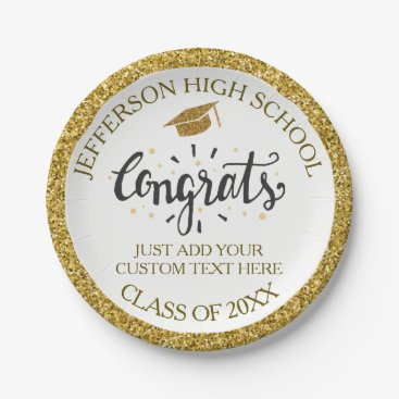 Custom Graduation Congrats Grad Gold Class of 2018 Paper Plate