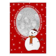 Custom Happy Holidays Snowman Card