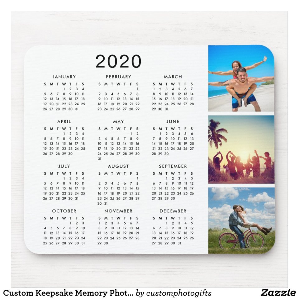 Custom Instagram Photo Collage 2020 Calendar Mouse Pad