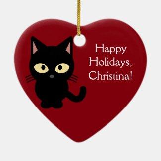 *Custom Name* Black Kitten Christmas Ornament