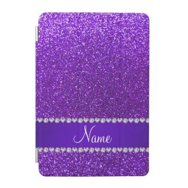 Custom name indigo purple glitter purple stripe iPad mini cover