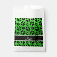 Custom name lime green glitter black dog paws favor bag