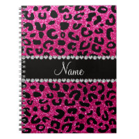 Custom name neon hot pink glitter cheetah print notebook